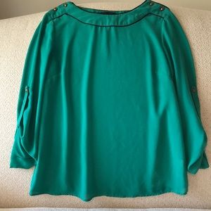 Tops - Elegant teal solid blouse with button up sleeves